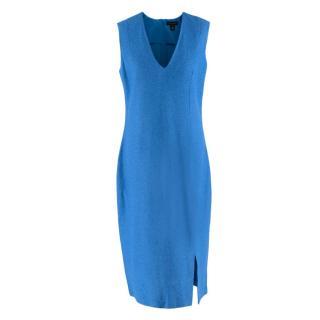 St. John Blue Wool Blend Midi Dress