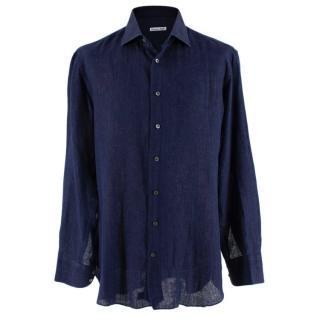 Emanuele Maffeis Navy Linen Long Sleeve Tailored Shirt