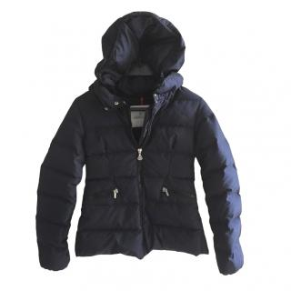 Moncler Kids Navy Down Hooded Coat