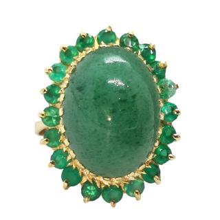 Bespoke 18ct Yellow Gold Jade & Emerald Cocktail Ring