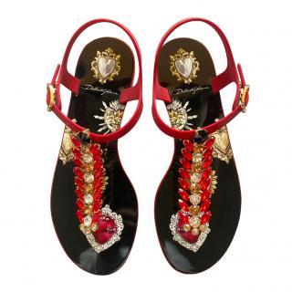 Dolce & Gabbana Scared Heart Crystal Sandals