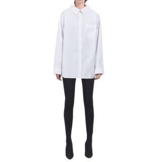 Balenciaga White Swing Collar Oversize Shirt
