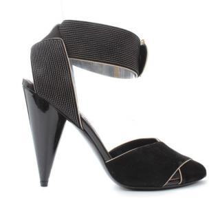 Tom Ford Suede Contrast Stitch Strap Cone Heel Sandals