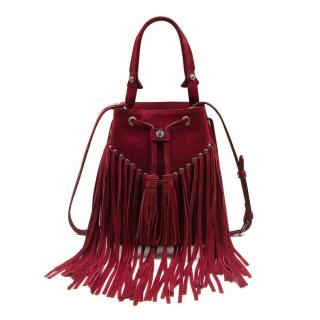 Sandro Red Suede Fringed Adula Bag