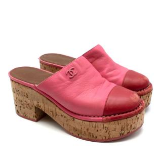 Chanel Red & Pink Labskin Leather CC Platform Mules