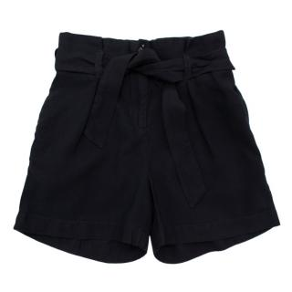 Bonpoint Black Pleated Belted Shorts
