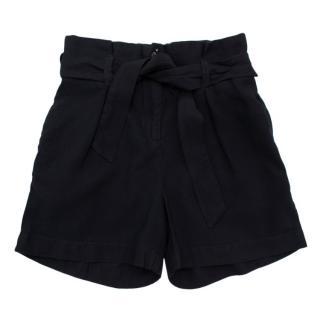 Bonpoint Black Pleated Belted Shorts