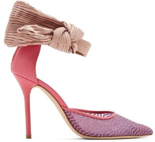 Emanuel Ungaro By Malone Souliers Pink Leather & Mesh Bow Heeled Shoes