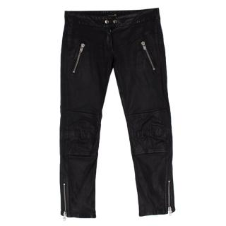 Isabel Marant Black Leather Biker Pants