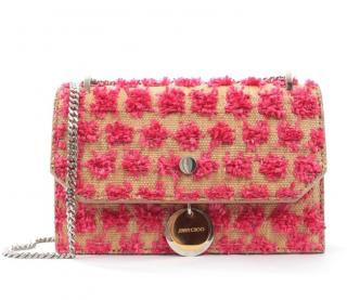Jimmy Choo Embellished Raffia Finley Shoulder Bag
