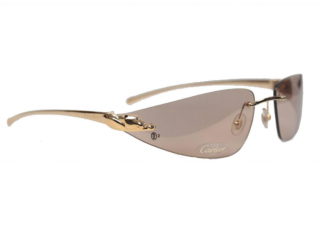 Cartier Brown/Silver Rimless Panthere Sunglasses