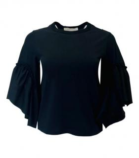 See By Chloe Black Ruffled Top