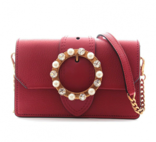 Miu Miu Crystal & Pearl Embellished Madras Shoulder Bag