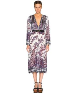 Isabel Marant Etoile Purple/White Paisley Print Midi Dress
