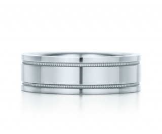 Tiffany Essential Band Double Milgrain Platinum Ring