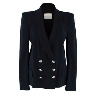 Pierre Balmain Black Crepe Double Breasted Jacket