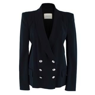 Pierre Balmain Black Crepe Double Breasted Jacket