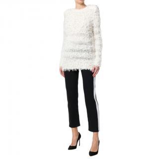 Balmain Ivory Cotton Blent Textured Knit Top