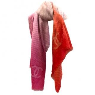 Chanel Pink/Orange Ombre Cashmere Scarf