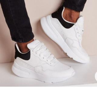 Alexander McQueen White/Navy Oversize Sneakers