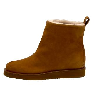 Tamara Mellon Camel Suede Shearling Lined Boots