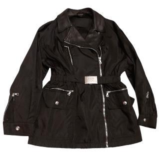 Prada Black Nylon & Leather Belted Jacket