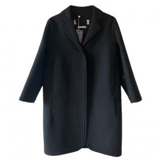Max Mara Black Wool Linear Coat