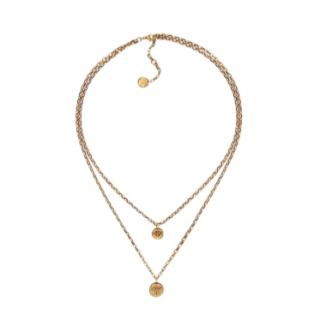 Dior Aged Gold Tone Amulettes d'Amour Layered Necklace