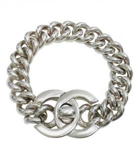 Chanel Vintage 'CC' Logo Bracelet Silver Plated large link bracelet