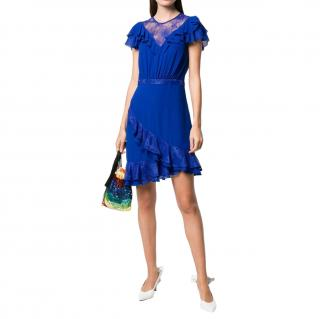 Three Floor Blue Ruffled Lace Detailed Dress
