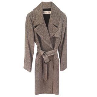 Christian Dior Vintage herringbone tweed trench style coat