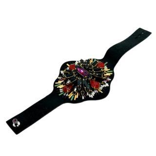 Satellite Paris Black Crystal Embellished Beaded Cuff