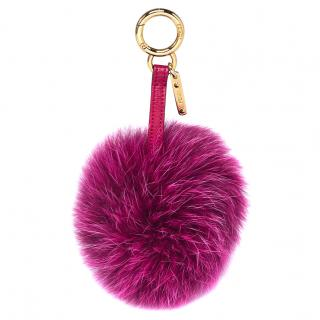 Fendi Fuchsia Fox Fur Pom Pom Bag Charm