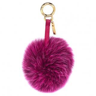 Fendi Fuchsia Fox Fur Pom Pom Bag Charm