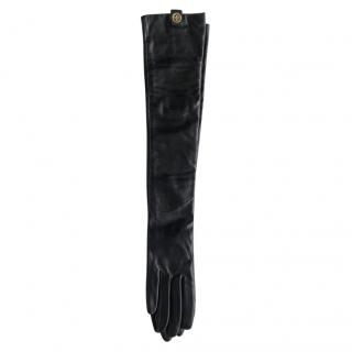Tory Burch full length black leather gloves