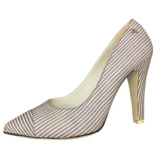 Chanel blue and white striped leather pumps