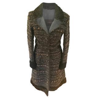 Ermanno Scervino astrakan trim tweed coat