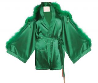 Maguy De Chadirac Emerald Green Satin Silk and Marabou Short Kimono