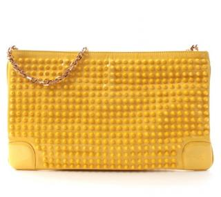 Christian Louboutin Studded Yellow Clutch on Chain