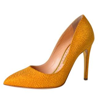 Rupert Sanderson Shattered Honeydew Leather Malory Pumps