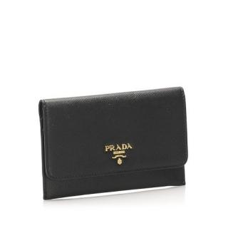 Prada Black Saffiano Card Holder/Coin Purse