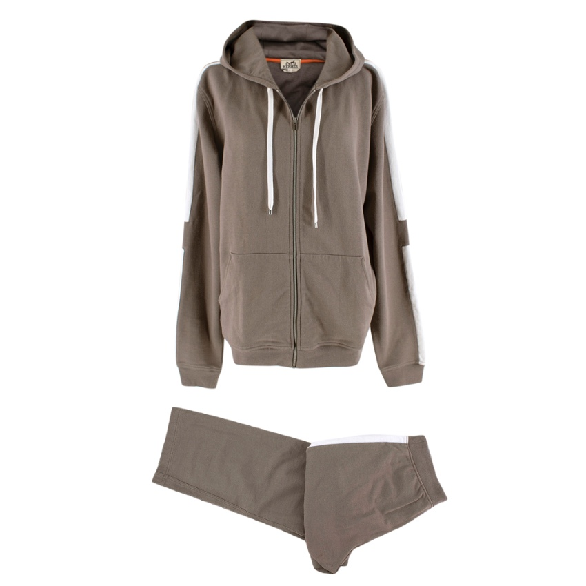 Hermes Taupe Cotton White Stripe Details Sweatpants & Hoodie