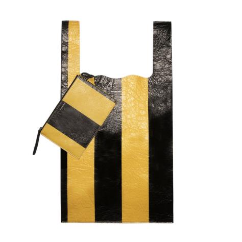 Balenciaga Black & Yellow Striped Supermarket Shopper M