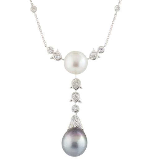 Bespoke White Gold Diamond & Pearl Necklace
