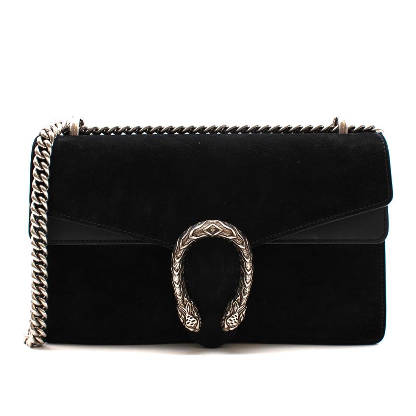 Gucci Black Leather & Suede Dionysus Small Shoulder Bag
