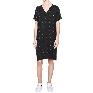 Escada Sport Crepe Printed Logo Dress