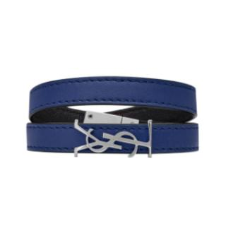 Saint Laurent Opyum Double Wrap Bracelet In Blue Leather