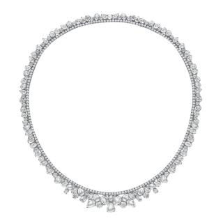 William & Son 18kt White Gold Diamond & White Sapphire Necklace