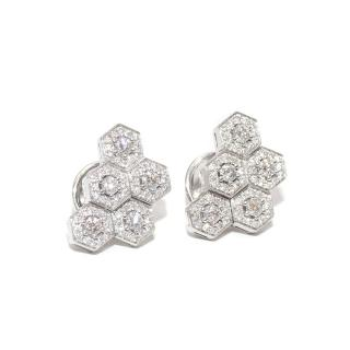 William & Son 18ct White Gold Diamond Honeycomb Cluster Earrings