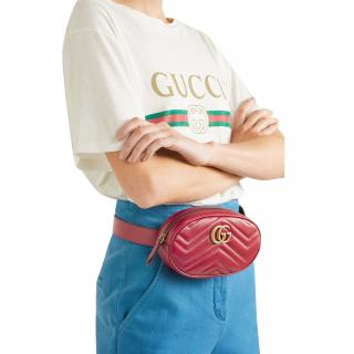 Gucci Red Leather Marmont Belt Bag